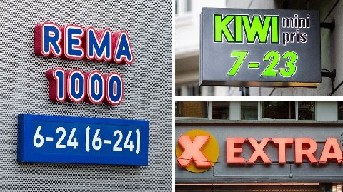SJOKKBOT: De tre dagligvarekonsernene får tidenes sjokkbot. Kiwi er den største kjeden til Norgesgruppen, mens Extra er størst hos Coop. Foto: Lise Åserud
