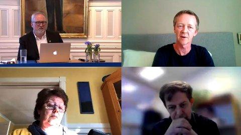 Slik ser det ut når bystyret har digitalt møte. Øverst f.v.: Ordfører Per Kristian Lunden (Ap), Magnus Stø Kittelsen (Frp), Lill Jorunn Larsen (KrF) og varaordfører Viktor Hauge (Sp).