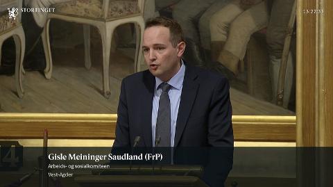 Gisle M. Saudland (Frp) benyttet talerstolen på Stortinget til angrep på fylkeskommunen