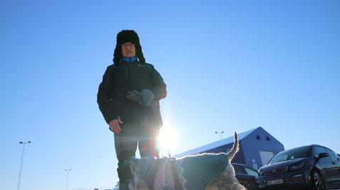 Olav Hauge og hunden var blant dei som var ute på tur.
