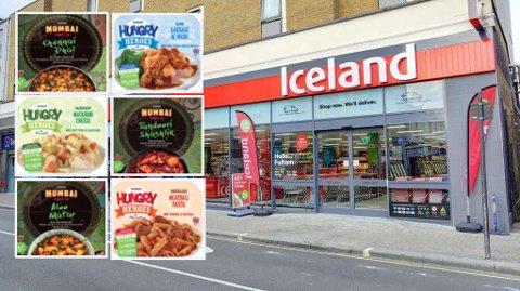 FROSSENMAT: Iceland etablerer seg i Norge til sommeren, og spesialiserer seg på sunn frossenmat. Dette er to av seriene som vil selges i Norge: Hungry Heroes, ferdigretter for barn, og Mumbai Street Food, indiske ferdigretter. Foto: Iceland