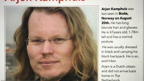 Den 47 år gamle nederelandske WikiLeaks-medarbeideren Arjen Kamphuis er meldt savnet i Bodø.