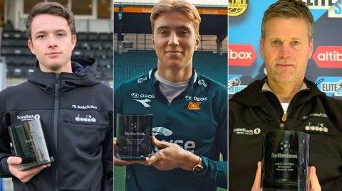 VINNER NETTAVISEN-PRISEN: Håkon Evjen (t.v), Kristian Thorstvedt og Kjetil Knutsen (t.h) kaprer hver sin pris for prestasjonene i sesongen 2019. Foto: Nettavisen