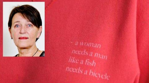 Et knapt synlig humoristisk sitat på en genser  tolkes til å være en hatytring mot menn.  Det er parodisk, og skader kun likestillingskampen.