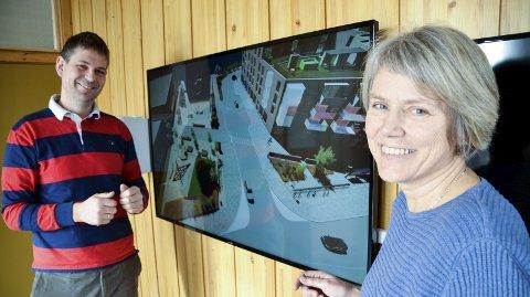 Byggestart: Prosjektleder Mjøs (t.v.) og kommunegartner Hiorth sier de er godt fornøyd med framdriften i Vikersund Nord og at de håper på byggestart allerede i april.