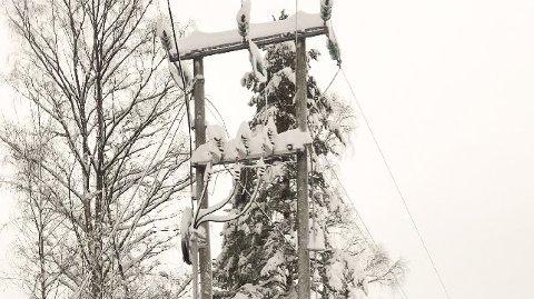 STRØMBRUDD: Mye og tung snø skaper trøbbel for Midtkraft Nett i Sigdal og Eggedal