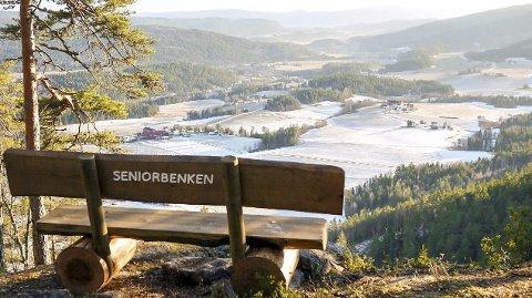 Nydelig utsikt: Tilpasset med sitteplass på Allemannsåsen.