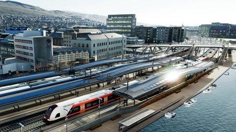 NYTT: Slik skal Drammen stasjon se ut når den er ferdig sommeren 2025. Det blir trapper ned fra bybrua til hver plattform, og adgang fra kaia.