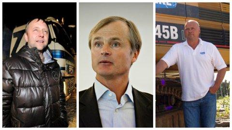 GÅR SAMMEN: Fra venstre: Leder for Isachsen Gruppen, Rune Isachsen, investor Øystein Stray Spetalen og leder for Hæhre Entreprenør, Albert Kr. Hæhre.