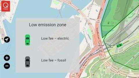 MILJØVENNLIG: Hybridbilsjåføren har byttet til elektrisk drivkraft. Bilen har derfor endret farge fra sort til grønn.  ILLUSTRASJON: Q-Free