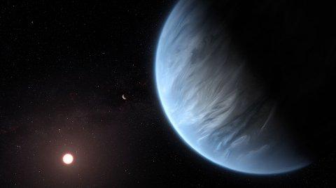 K2-18b befunner seg omkring 110 lysår unna jorden. Forskere mener nå å ha funnet vanndamp på planeten.