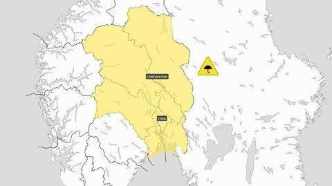 FAREVARSEL: Det er sendt ut gult farevarsel for Østlandet på grunn av store mengder nedbør onsdag.