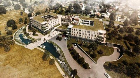 FERDIG 2025: Slik skal det nye sykehjemmet på Brekkejordet i Krokstadelva se ut. Det ferdige sykehjemmet blir imidlertid litt annerledes enn opprinnelig planlagt - fordi politikerne må spare penger.