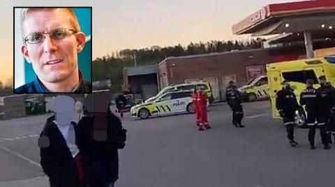 SLAGSMÅL: Kommuneoverlege Johan David Johannessen (innfelt) er ikke særlig imponert over russens oppførsel ved Kopstadkrysset natt til fredag.