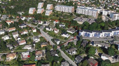 HER VIL DE BYGGE: Slik har utbyggerne tegnet inn området hvor de ønsker å sette opp rundt 90 boenheter i blokkbebyggelse i Fagerliveien.
