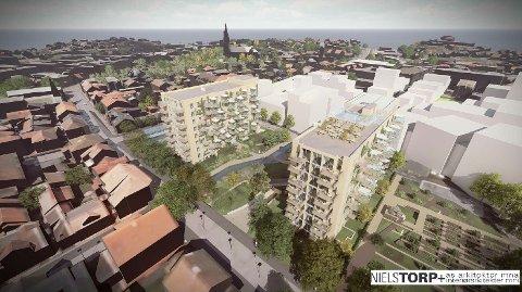 En restaurant med 200 kvadratmeter innendørs og 180 kvadratmeter uteservering er planen på toppen av A-blokka (nærmest) på Cicignon.