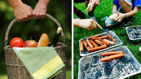 VARIERT: Du kan ha med mye forskjellig mat når du skal på piknik i parken. Foto: Frank May / Sara Johannessen (NTB scanpix)