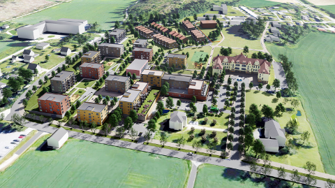 Viken fylkeskommune foreslår flere endringer i ordlyden i bestemmelsene for det kommende boligområdet Veum ark for å sikre kulturminner. Hensynssonen det er snakk om, ligger bak hovedbygget – til høyre for de planlagte rekkehusene.
