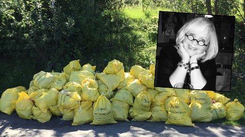 Anne Margrethe Stensland har hytte rett over denne dungen med søppel. På vinteren og andre somre har ikke lukten vært en problemstilling, men i år har det vært varmt...
