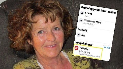 Anne-Elisabeth Hagen og innfelt bilde av innsjekkingen hos TVNorge 20. november 2018, tre uker etter at hun forsvant fra sitt hjem i Sloraveien i Lørenskog.  Foto: Privat og skjermdump, Facebook (montasje, Nettavisen)