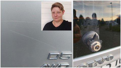KOSTBAR VASK: Ann-Karin Bredesen oppdaget skader på bilen etter maskinvask hos Cirkle K på Mjøsstranda.