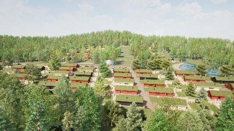 HYTTEBY: Slik ser utbyggeren for seg ei ny hyttegrend med 91 hytter i Eidskog. ILLUSTRASJON: AKSETØY ARKITEKTUR