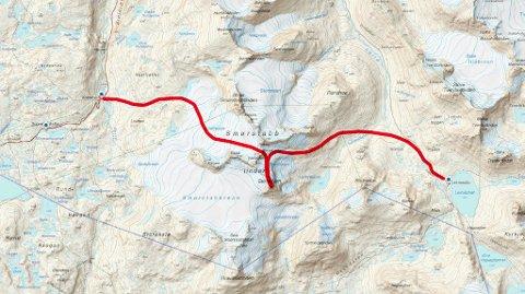 Siste etappen går fra Leirvassbu til Krossbu via Storebjørn. – Det finnes egentlig ikke noen fasit på hvor man skal gå. Vi har satt opp en rød linje som man kan følge, men det er alltid vær, form og føre som bestemmer, sier Wildhagen.