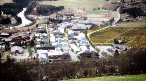 SEGALSTAD BRU: Gausdal kommune har store planer for utvikling av Segalstad bru. Målet er å utvikle et attraktivt handelssentrum. Fylkespolitikerne vil ha parkeringsplassene ut av sentrum.Illustrasjon: Asplan Viak/MAD