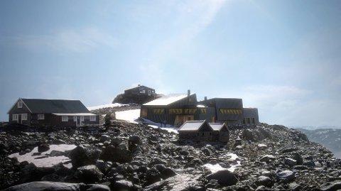 Den Norske Turistforening vil bygge en ny hytte på Fannaråken - slik er den tenkt.
