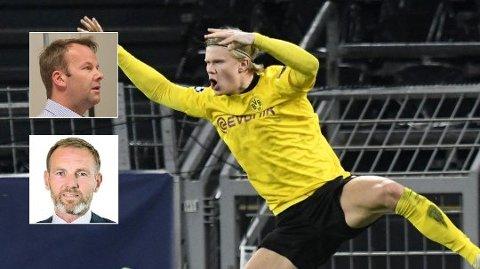 NEKTES DETTE: En halv million kunder får verken se Champions League eller Bundesliga med Norges superspiss Erling Braut Haaland. Telias kommunikasjonsdirektør Henning Lunde (innfelt, over) sier det fortsatt er håp. Kim Poder, kommersiell direktør for Nent Group, ber derimot Telia slutte å gi sine kunder falske forhåpninger. Foto: AP / NTB / Kjetil Mæland / Flickr