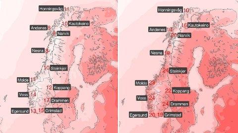 FORSKJELL: Disse to bildene viser hvordan været blir førstkommende mandag (til venstre), og neste lørdag (til høyre) Foto: Meteorologene/Twitter