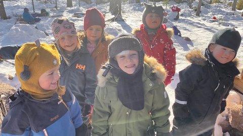 HÅPER PÅ BADETEMPERATUR: Bak fra venstre: Oline Finstadsveen (6), Tuva Raknerud Sundvoll (5 1/2), Tiril Rudsengen (5 1/2). Foran fra venstre: Iver Dynna (5), Birk D. Jusufi-Lorentzen (5 1/2) og Tobias Kukkula Skjærstad.