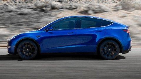 MODEL Y: Tesla Model Y er en mellomstor SUV med startpris på 534.000 kroner. Foto: Tesla