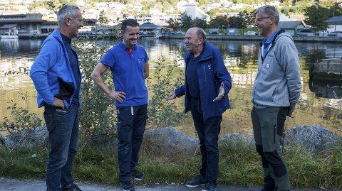 Hamnepromenade: Næringsaktørar vil redde parkeringsplassar. Inge Lægreid, Einar Kråkevik, Tore Onarheim og Sigmund Sævareid.