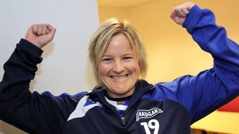 MYE Å JUBLE FOR: Haugar-trener Hellen Våge har kunnet juble for scoring i alle kampene så langt i år.