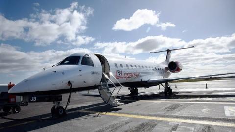 SKAL OVER NORDSJØEN: Flyet som settes inn på ruten mellom Haugesund og Aberdeen har kapasitet til å ta 49 passasjerer.