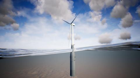 SIGNERT: Slik ser vindturbinen i verdens største flytende havvindpark, Hywind Tampen ut. Ølen Betong skal stå for betongleveranser til de flytende betongstrukturene.