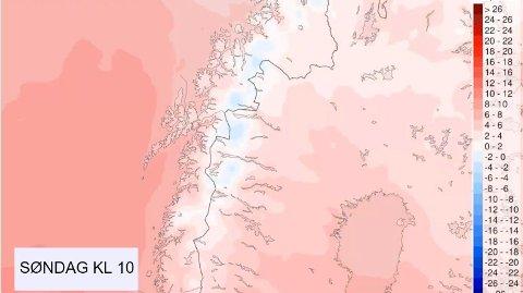 MINUSGRADER: Den svake blåfargen i deler av Nord-Norge viser at meteorologen forventer kuldegrader til helga.