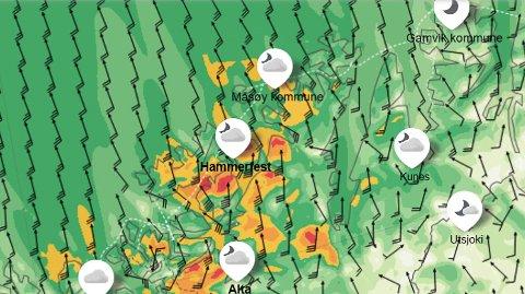 KULING: Det  sterk kuling, opp mot liten storm, enkelt deler av Vest-Finnmark på onsdag.