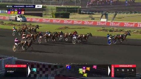 TREDJEPLASS: Overraskelsen Etonnant holder farten oppe til seier og to millioner kroner i søndagens Prix de Paris på Vincennes. Moni Viking, tredje hest innerst, fullførte bra til tredje og 560.000 kroner.