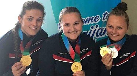 Europamester: Jenny Stene i midten skjøt Norge til gull i lagskyting under EM i skyting i Baku. Her er hun i midten sammen med lagvenninnene Regine Nesheim og Jeanette Hegg Duestad. Foto: Norges skytterforbund