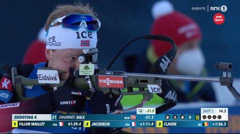 PÅ PALLEN: Under onsdagens 20-kilometer under skiskytter-VM i Pokljuka gikk blakværing Johannes Dale inn til bronse.