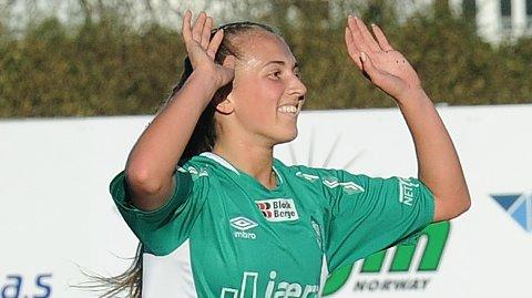 Matilde Alsaker Rogde jubler i en av Klepps seriekamper tidligere i høst.