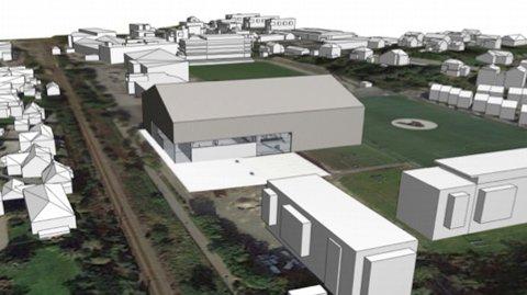 Den nye hallen blir 18 meter høg og skal ligga heilt inntil den store kunstgrasbana ved Bryne stadion.