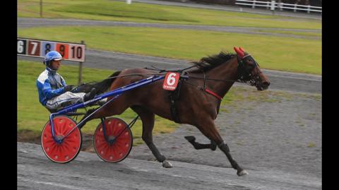 VANT: I august var Adrian Solberg Akselsen tilbake på travbanen og vant sitt løp i Drammen.