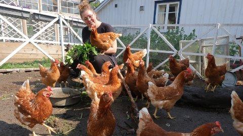 1: I bakhagen har Nina Wessel Toft plass til både høner og ender. 2: Voksbønnene er klare til såing. 3: Endene er nyklekte av året og er på vei for å rydde i hagen. 4: Gjestene på Wesselgården er vant til at maten er pyntet med blomster. 5: Jo da, syriner er også spiselige, forsikrer Nina Wessel Toft.