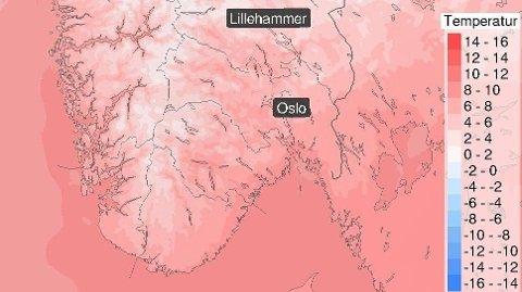 ONSDAG: Temperaturen ventes raskt å stige igjen onsdag, ifølge meteorologenes prognoser. Kartet viser forventet temperatur klokka 13 onsdag. (Kart: Meteorologisk institutt)