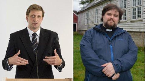 UEINIGE: Pastor Magnar Hellesøy (t.v) og sokneprest Kjetil Kringlebotten er ueinige i kva konsekvensar yoga kan ha.
