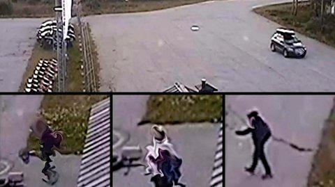 HÆRVERK: Disse tre personene. To 13 år gamle gutter og en voksen kvinne er mistenkt for å ha utført hærverk på Geilo Lufthavn Dagali 18. August i år. Bildet er slæddet av hensyn til de mistenkte.