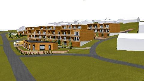 Foreløpige skisser: Usbl ser for seg at de nye boligene på feltet mellom Kirkelinna og Båhusveien kan se slik ut.